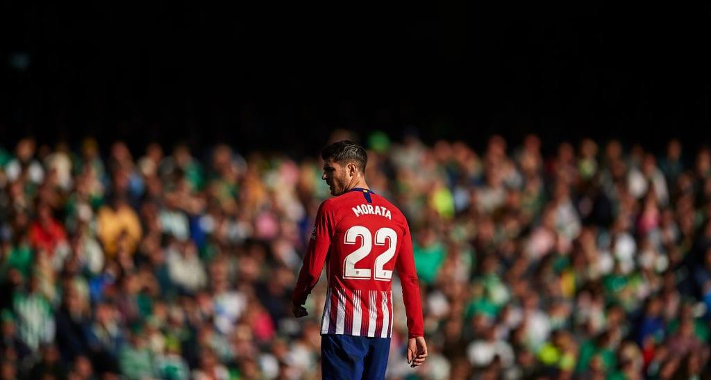 SEVILLE, SPAIN - FEBRUARY 03: Alvaro Morata of Club Atletico de Madrid looks on during the La Liga match between Real Betis Balompie and Club Atletico de Madrid at Estadio Benito Villamarin on February 03, 2019 in Seville, Spain. (Photo by Aitor Alcalde/Getty Images)