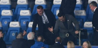 LEICESTER, ENGLAND - FEBRUARY 26: New Leicester City manager Brendan Rodgers is introduced to the crowd alongside Leicester City Chairman Aiyawatt Srivaddhanaprabha prior to the Premier League match between Leicester City and Brighton & Hove Albion at The King Power Stadium on February 26, 2019 in Leicester, United Kingdom. (Photo by Mike Hewitt/Getty Images)