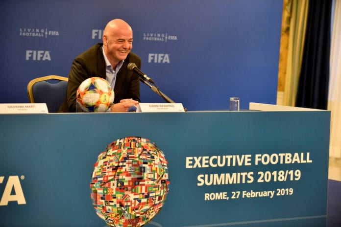 ROME, ITALY - FEBRUARY 27: President of FIFA Gianni Infantino smiles during the FIFA executive football summit press conference on February 27, 2019 in Rome, Italy. (Photo by Marco Rosi/Getty Images)