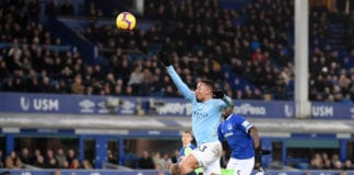 LIVERPOOL, ENGLAND - FEBRUARY 06: Gabriel Jesus of Manchester City scores his sides second goal during the Premier League match between Everton FC and Manchester City at Goodison Park on February 06, 2019 in Liverpool, United Kingdom. (Photo by Laurence Griffiths/Getty Images)