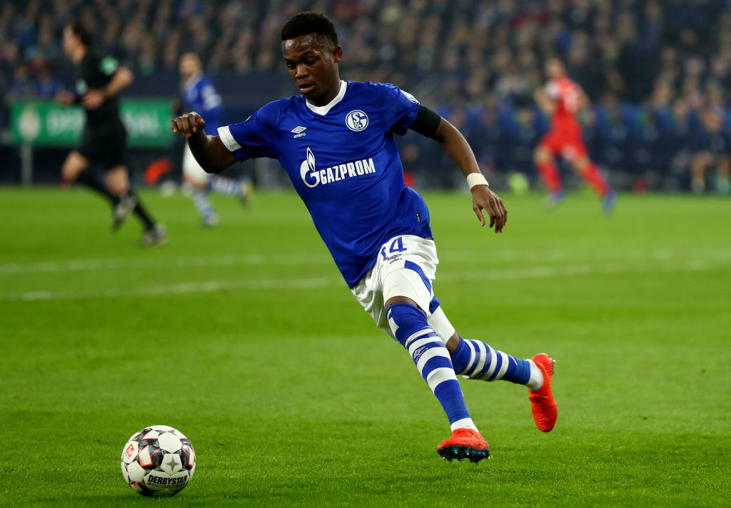 GELSENKIRCHEN, GERMANY - FEBRUARY 06: Rabbi Matondo of Schalke runs with the ball during the DFB Pokal Cup match between FC Schalke 04 and Fortuna Duesseldorf at Veltins-Arena on February 06, 2019 in Gelsenkirchen, Germany. (Photo by Lars Baron/Bongarts/Getty Images)