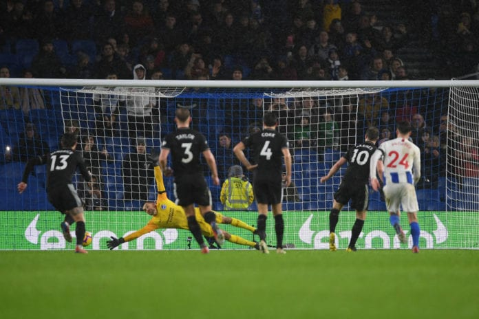 BRIGHTON, ENGLAND - FEBRUARY 09: Ashley Barnes of Burnley beats Matthew Ryan of Brighton & Hove Albion from the penalty spot during the Premier League match between Brighton & Hove Albion and Burnley FC at American Express Community Stadium on February 09, 2019 in Brighton, United Kingdom. (Photo by Mike Hewitt/Getty Images)