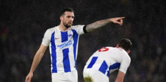 BRIGHTON, ENGLAND - FEBRUARY 09: Shane Duffy of Brighton & Hove Albion males a point to Dale Stephens of Brighton & Hove Albion during the Premier League match between Brighton & Hove Albion and Burnley FC at American Express Community Stadium on February 09, 2019 in Brighton, United Kingdom. (Photo by Mike Hewitt/Getty Images)