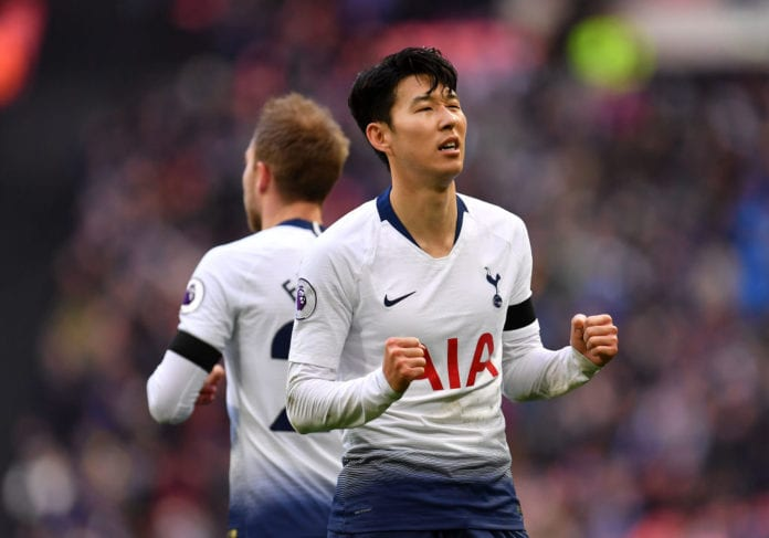LONDON, ENGLAND - FEBRUARY 10: Heung-Min Son of Tottenham Hotspur celebrates scoring his teams third goal during the Premier League match between Tottenham Hotspur and Leicester City at Wembley Stadium on February 10, 2019 in London, United Kingdom. (Photo by Justin Setterfield/Getty Images)