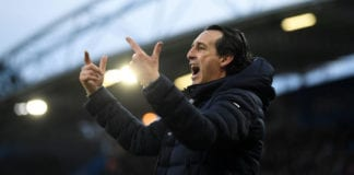 HUDDERSFIELD, ENGLAND - FEBRUARY 09: Unai Emery, Manager of Arsenal reacts during the Premier League match between Huddersfield Town and Arsenal FC at John Smith's Stadium on February 09, 2019 in Huddersfield, United Kingdom. (Photo by Gareth Copley/Getty Images)