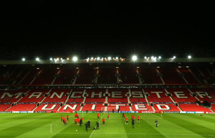 MANCHESTER, ENGLAND - FEBRUARY 11: Players take part in a drill during a Paris Saint-Germain training session at Old Trafford on February 11, 2019 in Manchester, England. (Photo by Jan Kruger/Getty Images)