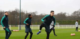 ENFIELD, ENGLAND - FEBRUARY 12: Harry Winks, Kyle Walkers-Peters and Kieran Trippier warm up during a Tottenham Hotspur training session at Tottenham Hotspur Training Centre on February 12, 2019 in Enfield, England. (Photo by Catherine Ivill/Getty Images)
