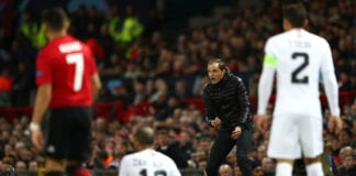 MANCHESTER, ENGLAND - FEBRUARY 12: Thomas Tuchel the Coach of Paris Saint-Germain shouts instructions from the sideline during the UEFA Champions League Round of 16 First Leg match between Manchester United and Paris Saint-Germain at Old Trafford on February 12, 2019 in Manchester, England. (Photo by Michael Steele/Getty Images)