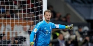 AUGSBURG, GERMANY - FEBRUARY 15: Manuel Neuer of FC Bayern Muenchen reacts during the Bundesliga match between FC Augsburg and FC Bayern Muenchen at WWK-Arena on February 15, 2019 in Augsburg, Germany. (Photo by Alexander Hassenstein/Bongarts/Getty Images)