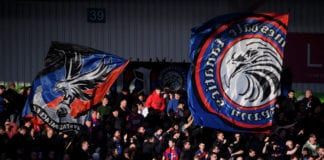 DONCASTER, ENGLAND - FEBRUARY 17: Crystal Palace fans show their support prior to the FA Cup Fifth Round match between Doncaster Rovers and Crystal Palace at Keepmoat Stadium on February 17, 2019 in Doncaster, United Kingdom. (Photo by Laurence Griffiths/Getty Images)