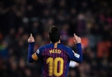 BARCELONA, SPAIN - FEBRUARY 16: Lionel Messi of FC Barcelona celebrates after scoring his team's first goal during the La Liga match between FC Barcelona and Real Valladolid CF at Camp Nou on February 16, 2019 in Barcelona, Spain. (Photo by David Ramos/Getty Images)