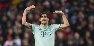LIVERPOOL, ENGLAND - FEBRUARY 19: Javi Martinez of Bayern in action during the UEFA Champions League Round of 16 First Leg match between Liverpool and FC Bayern Munich at Anfield on February 19, 2019 in Liverpool, England. (Photo by Stu Forster/Getty Images)