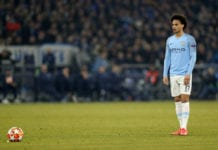 GELSENKIRCHEN, GERMANY - FEBRUARY 20: Leroy Sane of Manchester City scores the 2nd goal for his team by penalty kick during the UEFA Champions League Round of 16 First Leg match between FC Schalke 04 and Manchester City at Veltins-Arena on February 20, 2019 in Gelsenkirchen, Germany. (Photo by Maja Hitij/Bongarts/Getty Images)