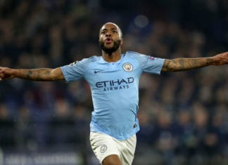 GELSENKIRCHEN, GERMANY - FEBRUARY 20: Raheem Sterling of Manchester City celebrates after he scores his team's 3rd goal during the UEFA Champions League Round of 16 First Leg match between FC Schalke 04 and Manchester City at Veltins-Arena on February 20, 2019 in Gelsenkirchen, Germany. (Photo by Maja Hitij/Bongarts/Getty Images)