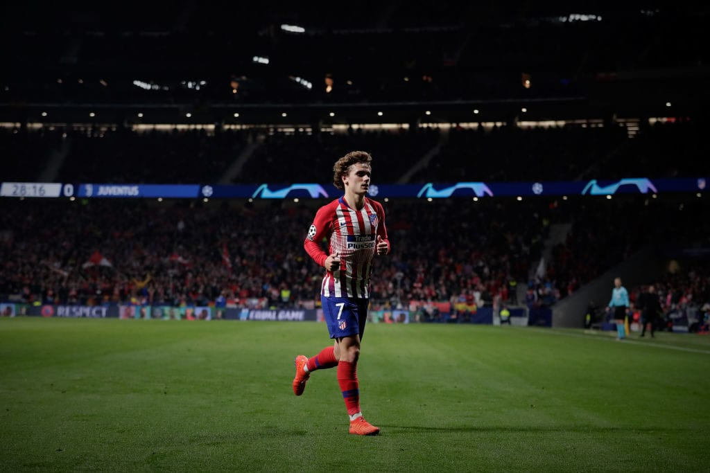 MADRID, SPAIN - FEBRUARY 20: Antoine Griezmann of Atletico de Madrid in action during the UEFA Champions League Round of 16 First Leg match between Club Atletico de Madrid and Juventus at Estadio Wanda Metropolitano on February 20, 2019 in Madrid, Spain. (Photo by Gonzalo Arroyo Moreno/Getty Images)