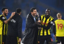 CARDIFF, WALES - FEBRUARY 22: Javi Gracia, Manager of Watford celebrates victory with Abdoulaye Doucoure after the Premier League match between Cardiff City and Watford FC at Cardiff City Stadium on February 22, 2019 in Cardiff, United Kingdom. (Photo by Stu Forster/Getty Images)