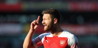 LONDON, ENGLAND - FEBRUARY 24: Shkodran Mustafi of Arsenal during the Premier League match between Arsenal FC and Southampton FC at Emirates Stadium on February 24, 2019 in London, United Kingdom. (Photo by Catherine Ivill/Getty Images)