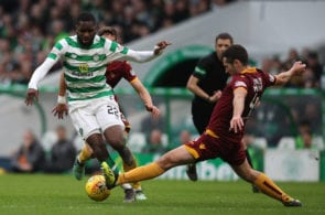 GLASGOW, SCOTLAND - FEBRUARY 24: Odsonne Edouard of Celtic vies with Carl McHugh during the Ladbrokes Premiership match between Celtic and Motherwell at Celtic Park on February 24, 2019 in Glasgow, United Kingdom. (Photo by Ian MacNicol/Getty Images)