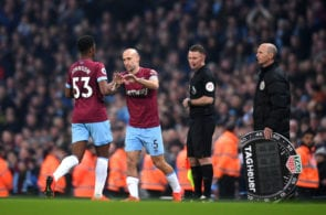 MANCHESTER, ENGLAND - FEBRUARY 27: Pablo Zabaleta of West Ham United is substituted on for teammate Ben Johnson during the Premier League match between Manchester City and West Ham United at Etihad Stadium on February 27, 2019 in Manchester, United Kingdom. (Photo by Laurence Griffiths/Getty Images)