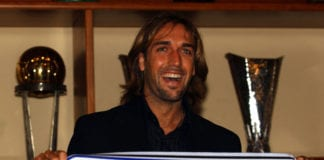 MILAN - JANUARY 21: New signing Gabriel Batistuta is presented to the media during a press conference at the Inter Milan Club Headquarters, Via Durini, Milan, Italy on January 21, 2003. (Photo by Grazia Nerii/Getty Images)