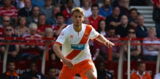 NOTTINGHAM, ENGLAND - AUGUST 09: Andrea Orlandi of Blackpool during the Sky Bet Championship match between Nottingham Forest and Blackpool at City Ground on August 9, 2014 in Nottingham, England. (Photo by Tony Marshall/Getty Images)