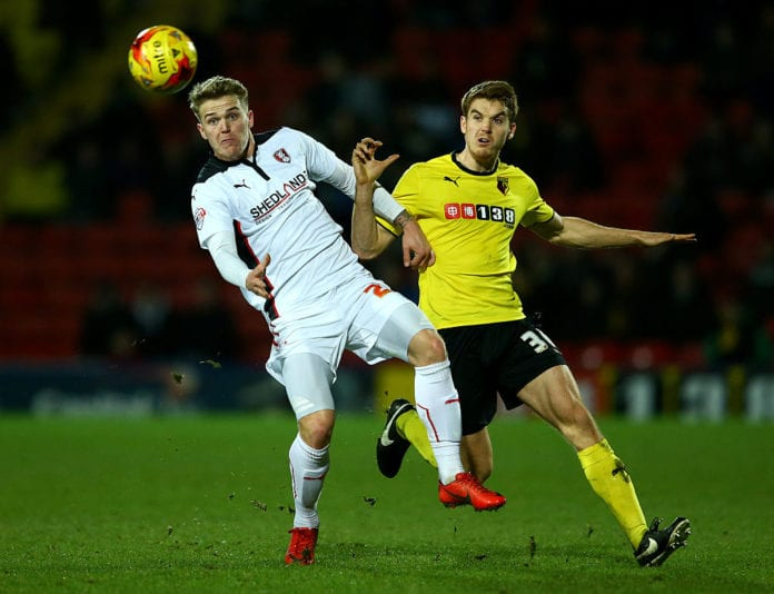 WATFORD, ENGLAND - FEBRUARY 24: Danny Ward of Rotherham United battles for the ball with Tommie Hoban of Watford during the Sky Bet Championship match between Watford and Rotherham United at Vicarage Road on February 24, 2015 in Watford, England. (Photo by Richard Heathcote/Getty Images)
