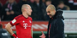AUGSBURG, GERMANY - FEBRUARY 14: Josep Guardiola, head coach of Muenchen celebrates with his player Arjen Robben after the Bundesliga match between FC Augsburg and FC Bayern Muenchen at WWK Arena on February 14, 2016 in Augsburg, Germany. (Photo by Alexander Hassenstein/Bongarts/Getty Images)