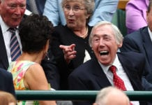 LONDON, ENGLAND - JULY 02: Gordon Banks takes his seat in centre court on day six of the Wimbledon Lawn Tennis Championships at the All England Lawn Tennis and Croquet Club on July 2, 2016 in London, England. (Photo by Julian Finney/Getty Images)