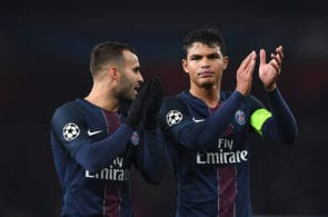 LONDON, ENGLAND - NOVEMBER 23: Jese of PSG (L) and Thiago Silva of PSG (R) shows appreciation to the fans after the final whistle during the UEFA Champions League Group A match between Arsenal FC and Paris Saint-Germain at the Emirates Stadium on November 23, 2016 in London, England. (Photo by Shaun Botterill/Getty Images)