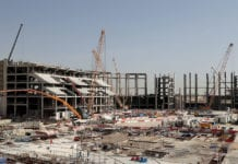 DOHA, QATAR - JANUARY 09: A general view during a tour at the construction site of the Al Bayt Stadium and the workers accommodation on January 9, 2017 in Doha, Qatar. Al Bayt Stadium will be a host venue for the 2022 FIFA World Cup Qatar, which will have a capacity of 60,000 and host matches through to the semi-final round. (Photo by Lars Baron/Bongarts/Getty Images)
