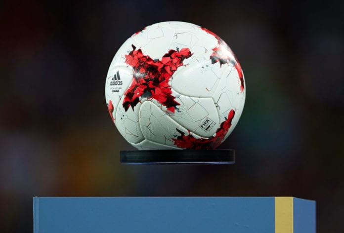 BARCELONA, SPAIN - AUGUST 13: A detailed view of the official match ball on the plinth ahead the Supercopa de Espana Supercopa Final 1st Leg match between FC Barcelona and Real Madrid at Camp Nou on August 13, 2017 in Barcelona, Spain. (Photo by Manuel Queimadelos Alonso/Getty Images,)