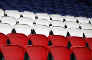 PARIS, FRANCE - NOVEMBER 22: General view of the red, white and blue seats before the UEFA Champions League group B match between Paris Saint-Germain and Celtic FC at Parc des Princes on November 22, 2017 in Paris, France. (Photo by Catherine Ivill/Getty Images)