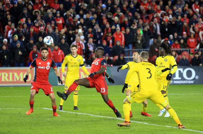 TORONTO, ON - NOVEMBER 29: Chris Mavinga #23 of Toronto FC shoots the ball during the second half of the MLS Eastern Conference Finals, Leg 2 game against Columbus Crew SC at BMO Field on November 29, 2017 in Toronto, Ontario, Canada. (Photo by Vaughn Ridley/Getty Images)