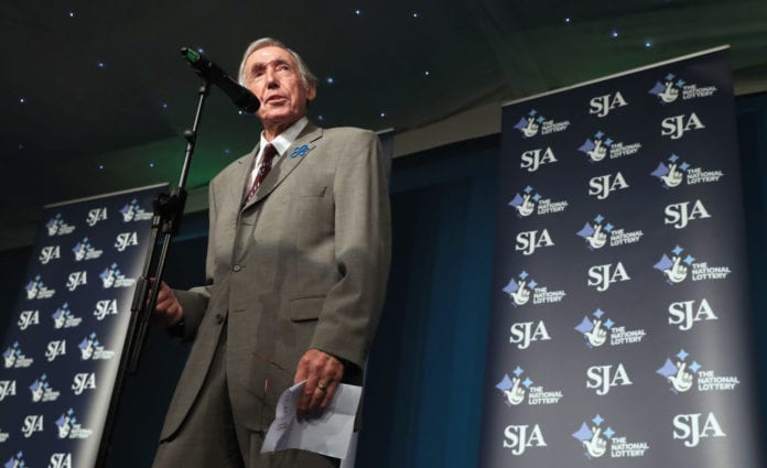 LONDON, ENGLAND - DECEMBER 06: Gordon Banks is pictured during The SJA British Sports Awards 2017 at the Tower of London on December 6, 2017 in London, England. (Photo by Andrew Redington/Getty Images)