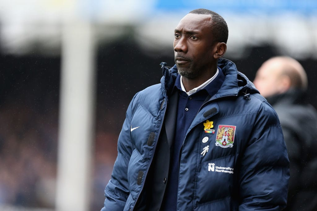 PETERBOROUGH, ENGLAND - APRIL 02: Northampton Town manager Jimmy Floyd Hasselbaink during the Sky Bet League One match between Peterborough United and Northampton Town at ABAX Stadium on April 2, 2018 in Peterborough, England. (Photo by Pete Norton/Getty Images)