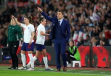 SOUTHAMPTON, ENGLAND - APRIL 06: Phil Neville manager of England during the Women's World Cup Qualifier between England and Wales at St Mary's Stadium on April 6, 2018 in Southampton, England. (Photo by Catherine Ivill/Getty Images)