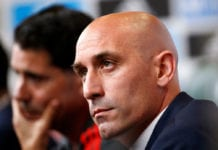 KRASNODAR, RUSSIA - JUNE 13: Luis Manuel Rubiales speaks to the media after appointing Fernando Hierro as the new head coach of Spain during the Spain Press Conference ahead of the FIFA World Cup Russia 2018 on June 13, 2018 in Krasnodar, Russia. (Photo by Getty Images/Getty Images)
