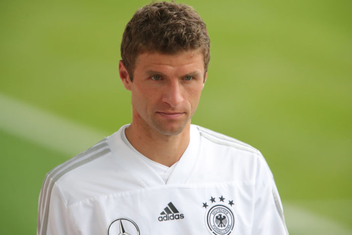 MUNICH, GERMANY - SEPTEMBER 03: Thomas Mueller arrives at the venue prior to a training session of the German national team at FC Bayern Campus on September 3, 2018 in Munich, Germany. (Photo by Alexander Hassenstein/Bongarts/Getty Images)