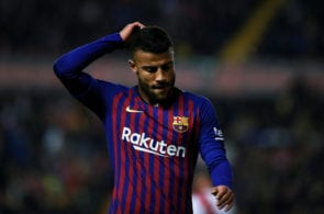 MADRID, SPAIN - NOVEMBER 03: Rafael Alcantara alias Rafinha of FC Barcelona reacts during the La Liga match between Rayo Vallecano de Madrid and FC Barcelona at Campo de Futbol de Vallecas on November 03, 2018 in Madrid, Spain. (Photo by Gonzalo Arroyo Moreno/Getty Images)