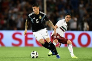 MENDOZA, ARGENTINA - NOVEMBER 20: Leandro Paredes of Argentina drives the ball during a friendly match between Argentina and Mexico at Malvinas Argentinas Stadium on November 20, 2018 in Mendoza, Argentina. (Photo by Amilcar Orfali/Getty Images)