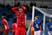 CHESTERFIELD, ENGLAND - NOVEMBER 10: Jake Robinson of Billericay Town stands dejected after missing a chance on goal during the FA Cup First Round match between Chesterfield and Billericay Town at Proact Stadium on November 10, 2018 in Chesterfield, England. (Photo by George Wood/Getty Images)