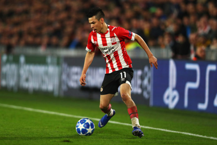 EINDHOVEN, NETHERLANDS - NOVEMBER 28: Hirving Lozano of PSV in action during the Group B match of the UEFA Champions League between PSV and FC Barcelona at Philips Stadion on November 28, 2018 in Eindhoven, Netherlands. (Photo by Dean Mouhtaropoulos/Getty Images)