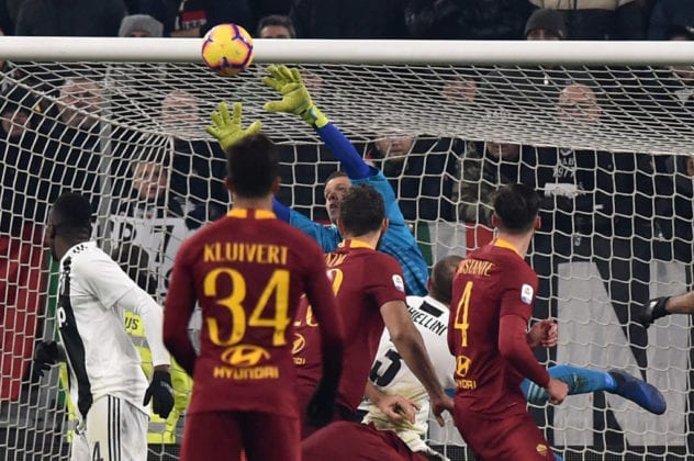 TURIN, ITALY - DECEMBER 22: Wojciach Szczesny, goalkeeper of Juventus, saves a goal during the Serie A match between Juventus and AS Roma on December 22, 2018 in Turin, Italy. (Photo by Tullio M. Puglia/Getty Images)
