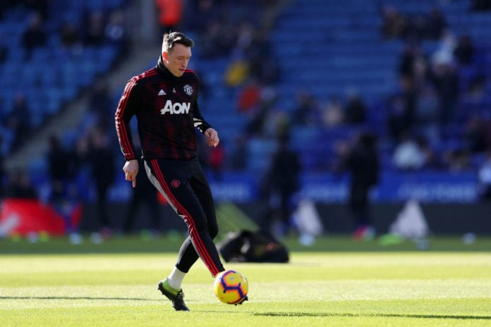 LEICESTER, ENGLAND - FEBRUARY 03: Phil Jones of Manchester United warms up prior to the Premier League match between Leicester City and Manchester United at The King Power Stadium on February 3, 2019 in Leicester, United Kingdom. (Photo by Catherine Ivill/Getty Images)
