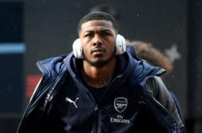 HUDDERSFIELD, ENGLAND - FEBRUARY 09: Ainsley Maitland-Niles of Arsenal arrives at the stadium prior to the Premier League match between Huddersfield Town and Arsenal FC at John Smith's Stadium on February 9, 2019 in Huddersfield, United Kingdom. (Photo by Gareth Copley/Getty Images)