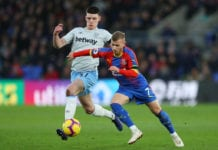 LONDON, ENGLAND - FEBRUARY 09: Declan Rice of West Ham United challenges Max Meyer of Crystal Palace during the Premier League match between Crystal Palace and West Ham United at Selhurst Park on February 9, 2019 in London, United Kingdom. (Photo by Warren Little/Getty Images)