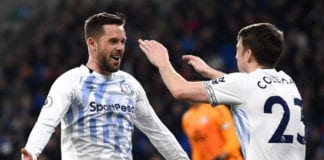 CARDIFF, WALES - FEBRUARY 26: Gylfi Sigurdsson of Everton celebrates after scoring his team's first goal with Seamus Coleman during the Premier League match between Cardiff City and Everton FC at Cardiff City Stadium on February 26, 2019 in Cardiff, United Kingdom. (Photo by Stu Forster/Getty Images)