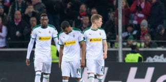 MOENCHENGLADBACH, GERMANY - MARCH 02: (L-R) Denis Zakaria, Alassane Plea and Matthias Ginter react during the Bundesliga match between Borussia Moenchengladbach and FC Bayern Muenchen at Borussia-Park on March 2, 2019 in Moenchengladbach, Germany. (Photo by Jörg Schüler/Bongarts/Getty Images)