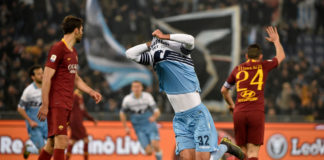 ROME, ITALY - MARCH 02: Danilo Cataldi of SS Lazio celebrates e third goal during the Serie A match between SS Lazio and AS Roma at Stadio Olimpico on March 2, 2019 in Rome, Italy. (Photo by Marco Rosi/Getty Images)