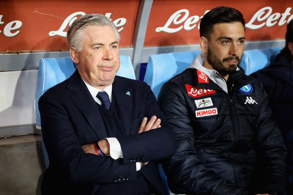 NAPLES, ITALY - MARCH 03: Coach of SSC Napoli Carlo Ancelotti looks on before the Serie A match between SSC Napoli and Juventus at Stadio San Paolo on March 3, 2019 in Naples, Italy. (Photo by Francesco Pecoraro/Getty Images)